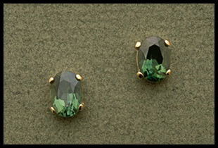 Small Oval Cut Stud Earring with Green Topaz
