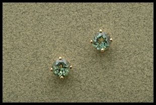 Small Round Stud Earring with Green Quartz