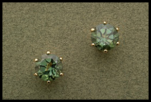 Round Cut Stud Earring with Green Topaz