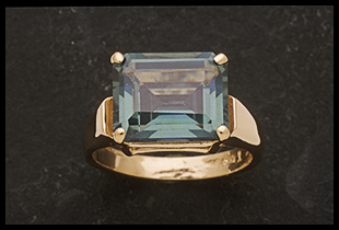 East to West Design Ring with Emerald Cut Blue Spinel Stone
